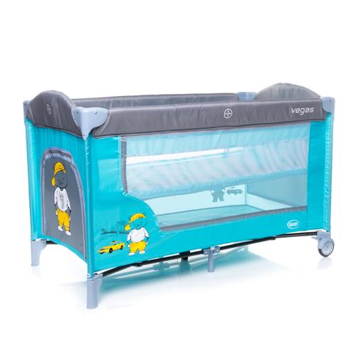 4baby VEGAS blue Ceļojumu gultiņa manēža (2 līmeņi)