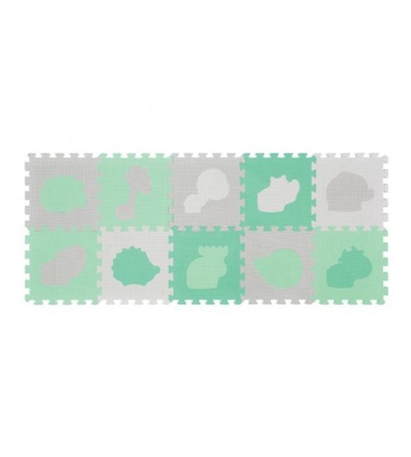 Aktivitātes paklājiņš-puzzle 10 plāksnes Babyono ANIMALS Pastel 396/01
