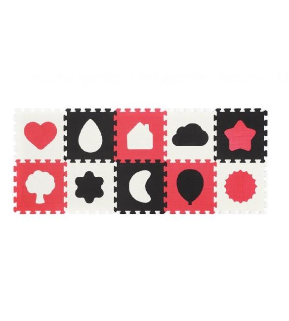 Aktivitātes paklājs-puzzle 10 plāksnes Babyono SHAPES 395/01