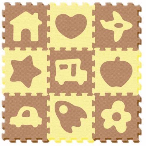 Aktivitātes paklājs Puzzle no 9 elementiem Smily Play Beige 1050