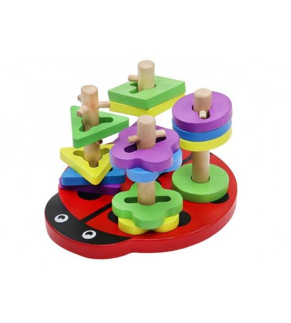Attīstošā Koka rotaļlieta piramīda LADY BIRD 7710