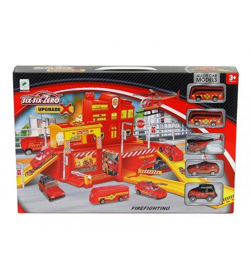 Autostāvvieta ugunsdzēsēju tematikā ar metāl. mašīnām un helikopteru 50x46x18 cm 504394