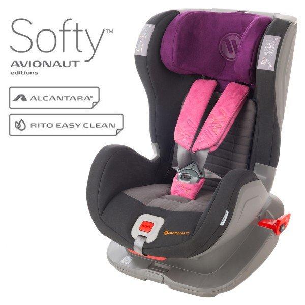 Avionaut Glider Softy Isofix F.03 Black pink Bērnu autosēdeklis 9-25 kg