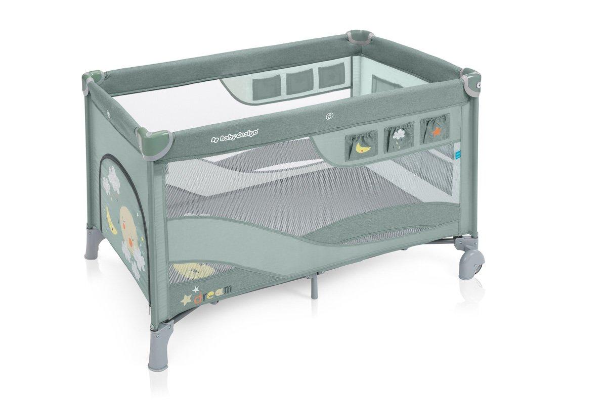 BabyDesign DREAM REGULAR 04 green Ceļojumu gultiņa manēža