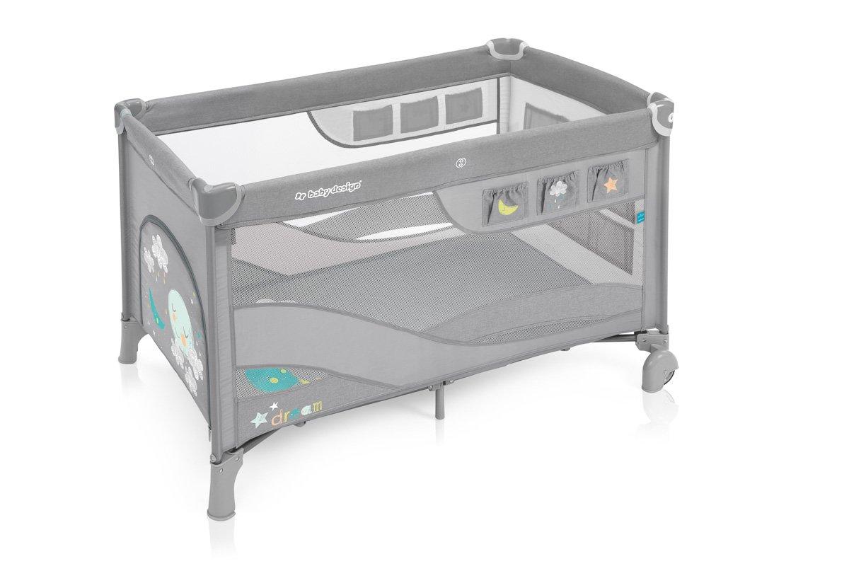 BabyDesign DREAM REGULAR 07 grey Ceļojumu gultiņa manēža
