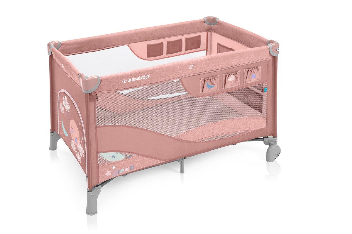 BabyDesign DREAM REGULAR 08 pink Ceļojumu gultiņa manēža