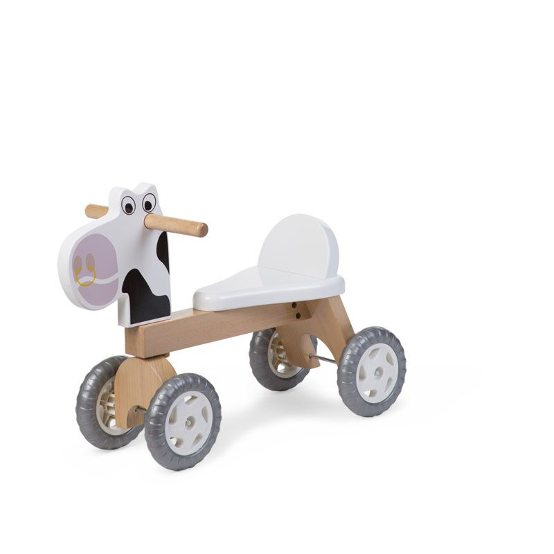 Balansa ritenis - Staigulis CHILDHOME Wooden Bike Natural White Cow