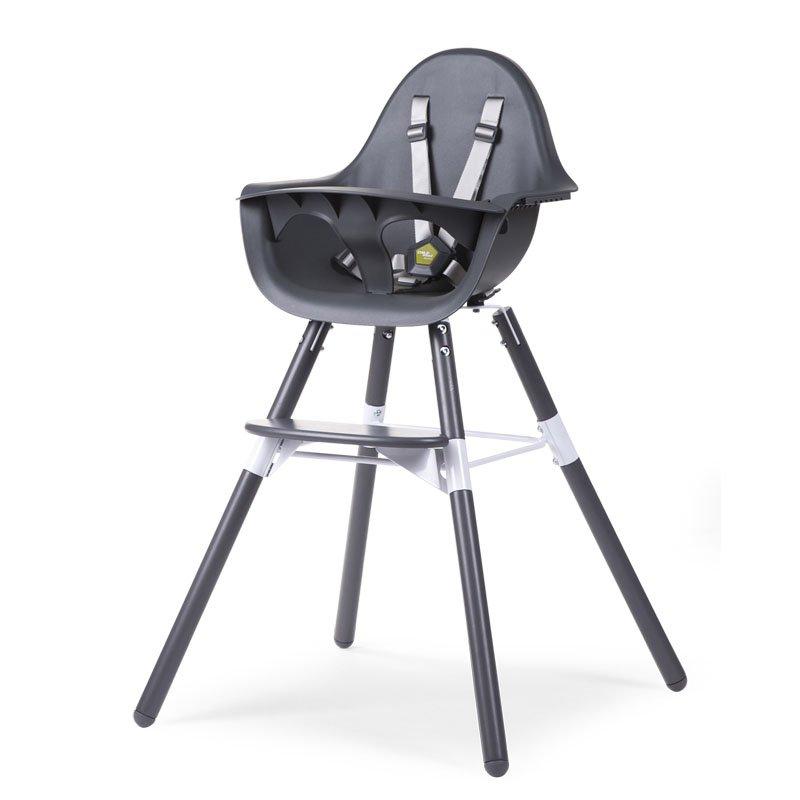 Barošanas krēsls 2 in 1 CHILDHOME Evolu 2 Chair anthr antrhracite + Bumper