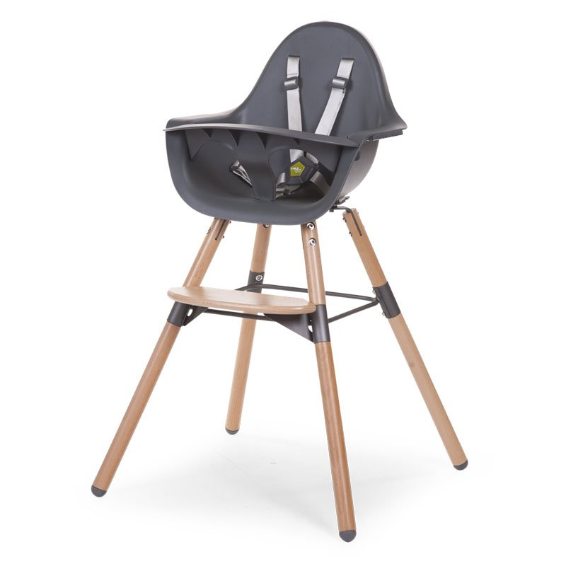 Barošanas krēsls 2 in 1 CHILDHOME Evolu 2 Chair natural anthra + Bumper