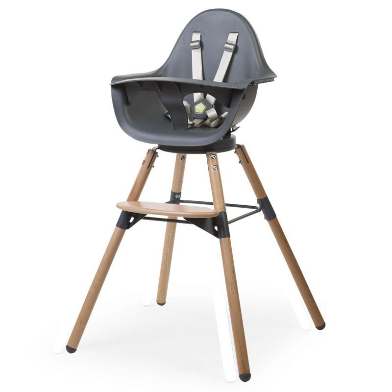 Barošanas krēsls 2 in 1 CHILDHOME Evolu ONE 80° Chair natural anthracite + Bumper