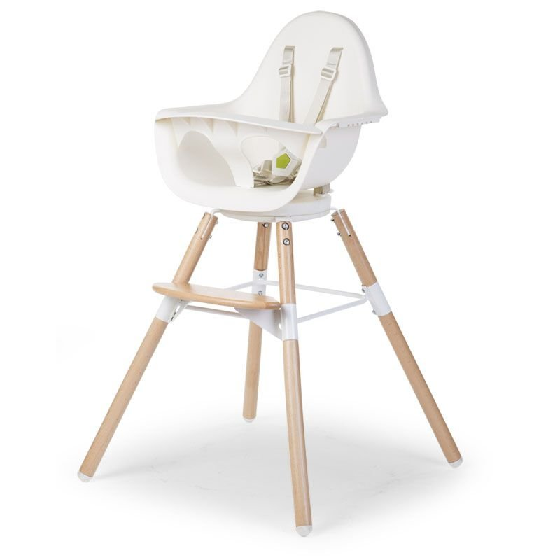 Barošanas krēsls 2 in 1 CHILDHOME Evolu ONE 80° Chair natural white + Bumper