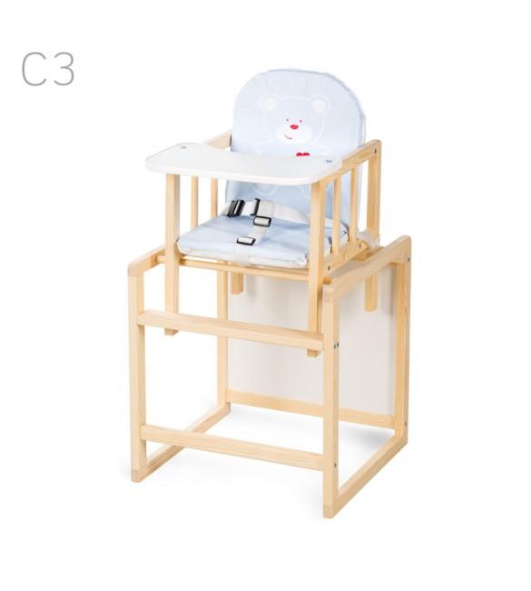Barošanas krēsls - transformeris Klups AGA I blue bear (C3) priežu krāsas