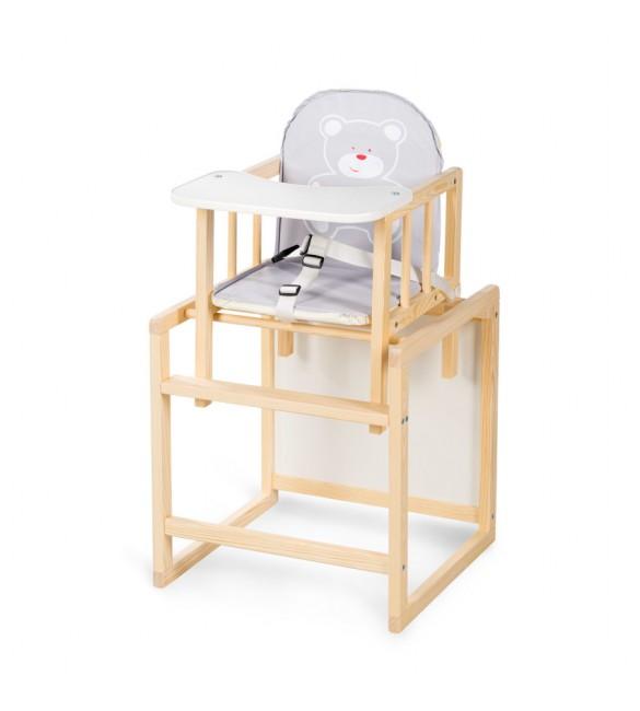 Barošanas krēsls - transformeris Klups AGA I grey bear (C1) priežu krāsas
