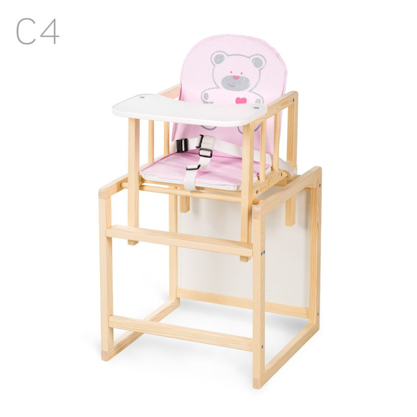 Barošanas krēsls - transformeris Klups AGA I pink bear (C4) priežu krāsas