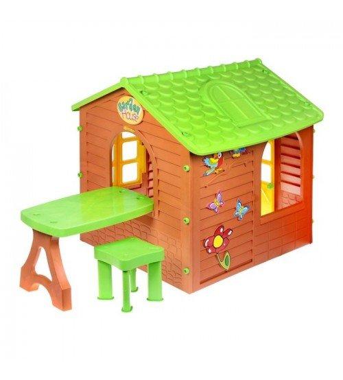 Bērnu dārza mājiņa ar galdu un krēsliņu Mochtoys 1.22x1.8x1.2 cm 11045