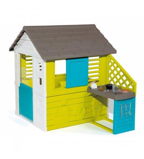 Bērnu dārza mājiņa ar virtuvi un 17 aksesuāriem 145 x 110 x 127 cm 810711