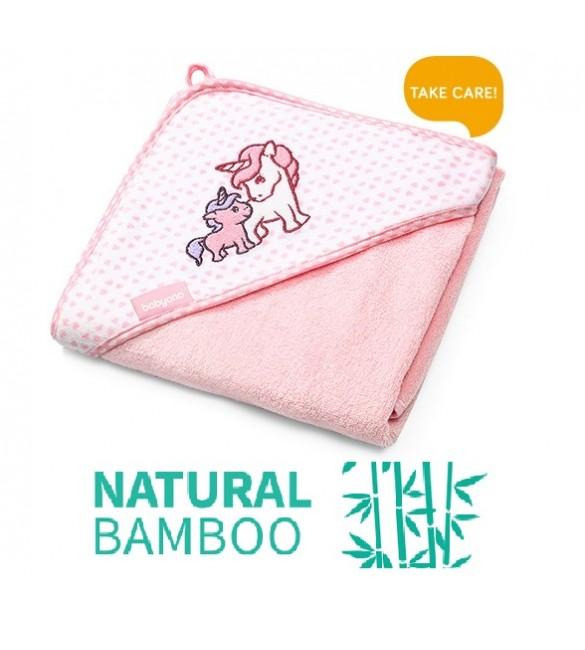 Bērnu Dvielis ar kapuci 76x76 cm BabyOno Bambusa 345/01 pink