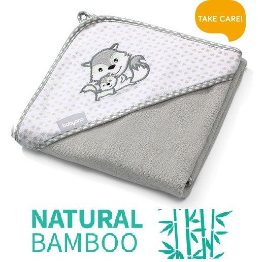Bērnu dvielis ar kapuci Bambusa 100x100 cm Babyono 346/03 grey