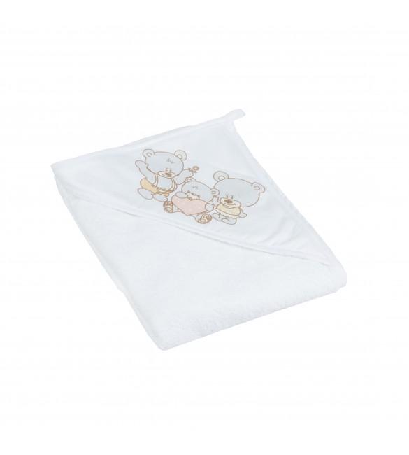 Bērnu dvielis ar kapuci BEAR 80x100 cm Tega Baby white pearl MS-015