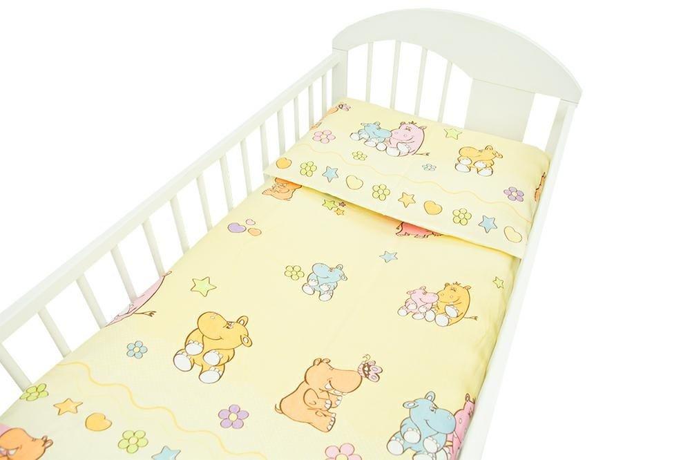 Bērnu Flaneļa gultas veļa: 2 daļas virspalags+spilvendrāna Ankras HIPPO K-2 yellow