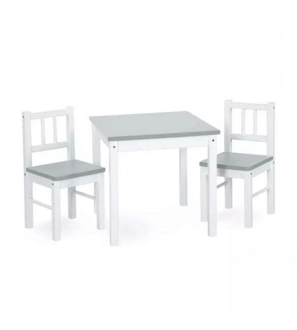 Bērnu galds un 2 krēsliņi KLUPS JOY white grey