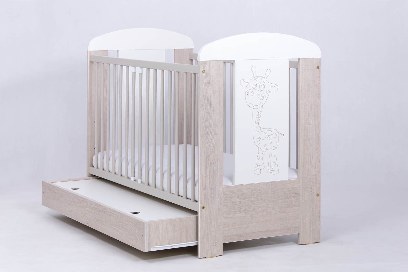 Bērnu gulta ar kasti Drewex GIRAFFE (Žyrafka) oak santana