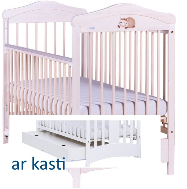 Bērnu gulta ar kasti Drewex HIPPO balta