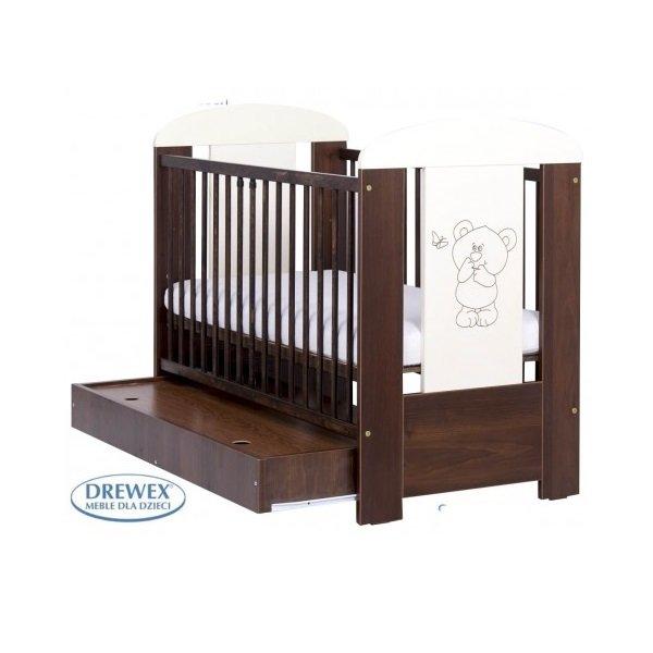 Bērnu gulta ar kasti Drewex LITTLE BEAR and BUTTERFLY (Maly Miš i Motylek) nut