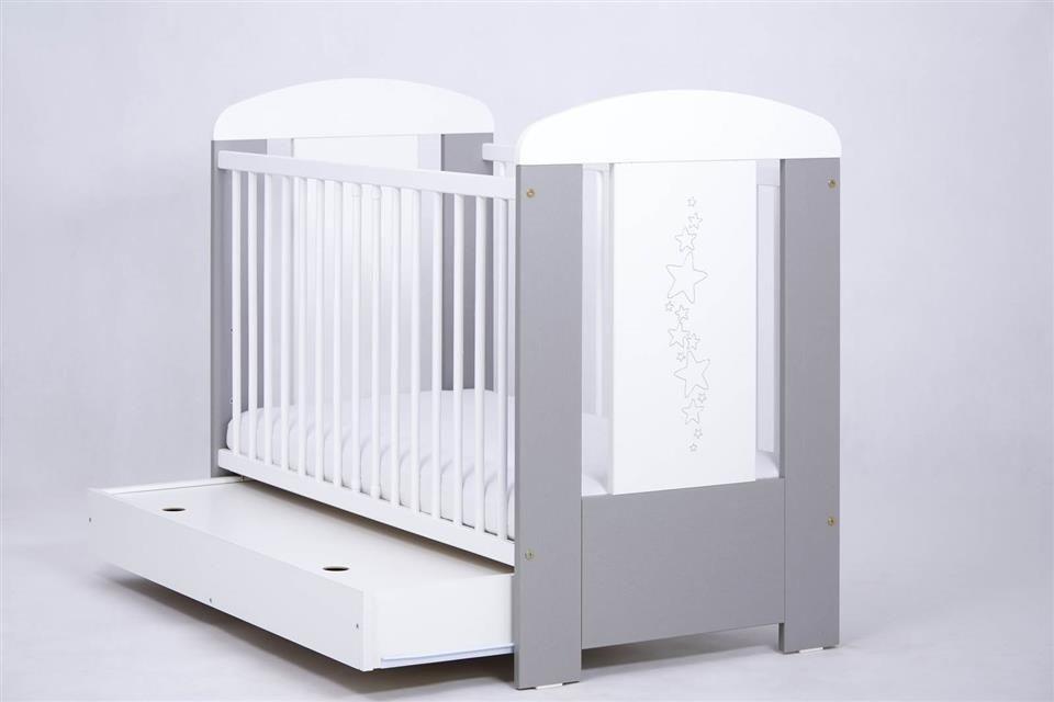 Bērnu gulta ar kasti Drewex STARS silver