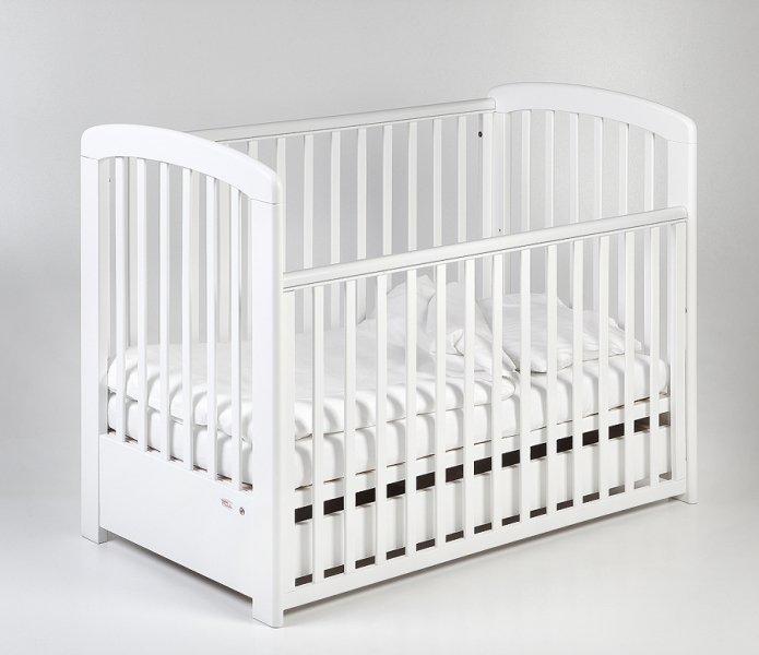 Bērnu gulta ar kasti un nolaižamu sānu TROLL Nina Lux White COT-NN0027
