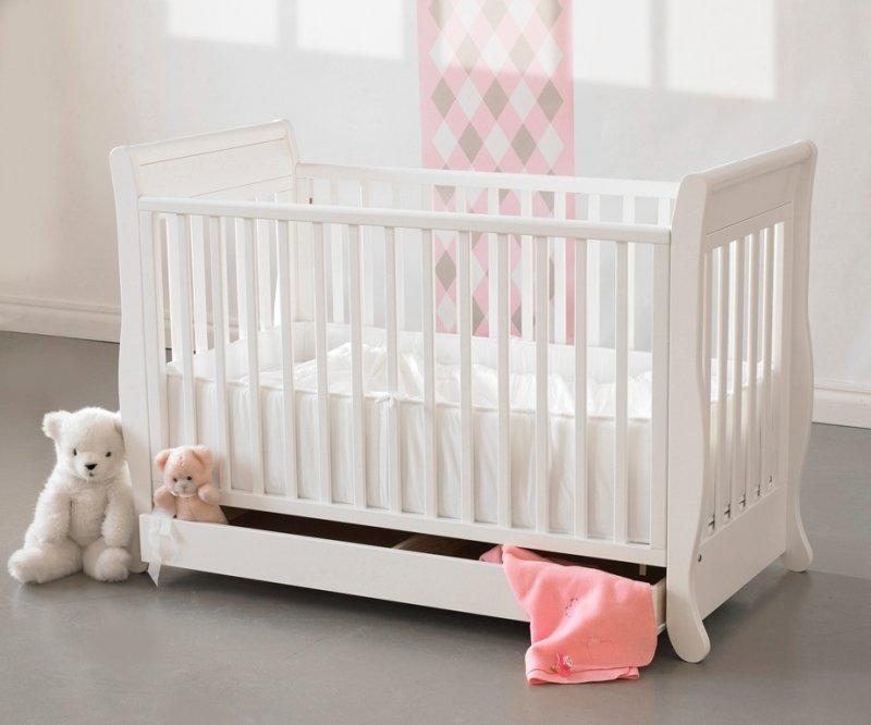 Bērnu gulta ar kasti un nolaižamu sānu TROLL Romantica White COT-RM0127