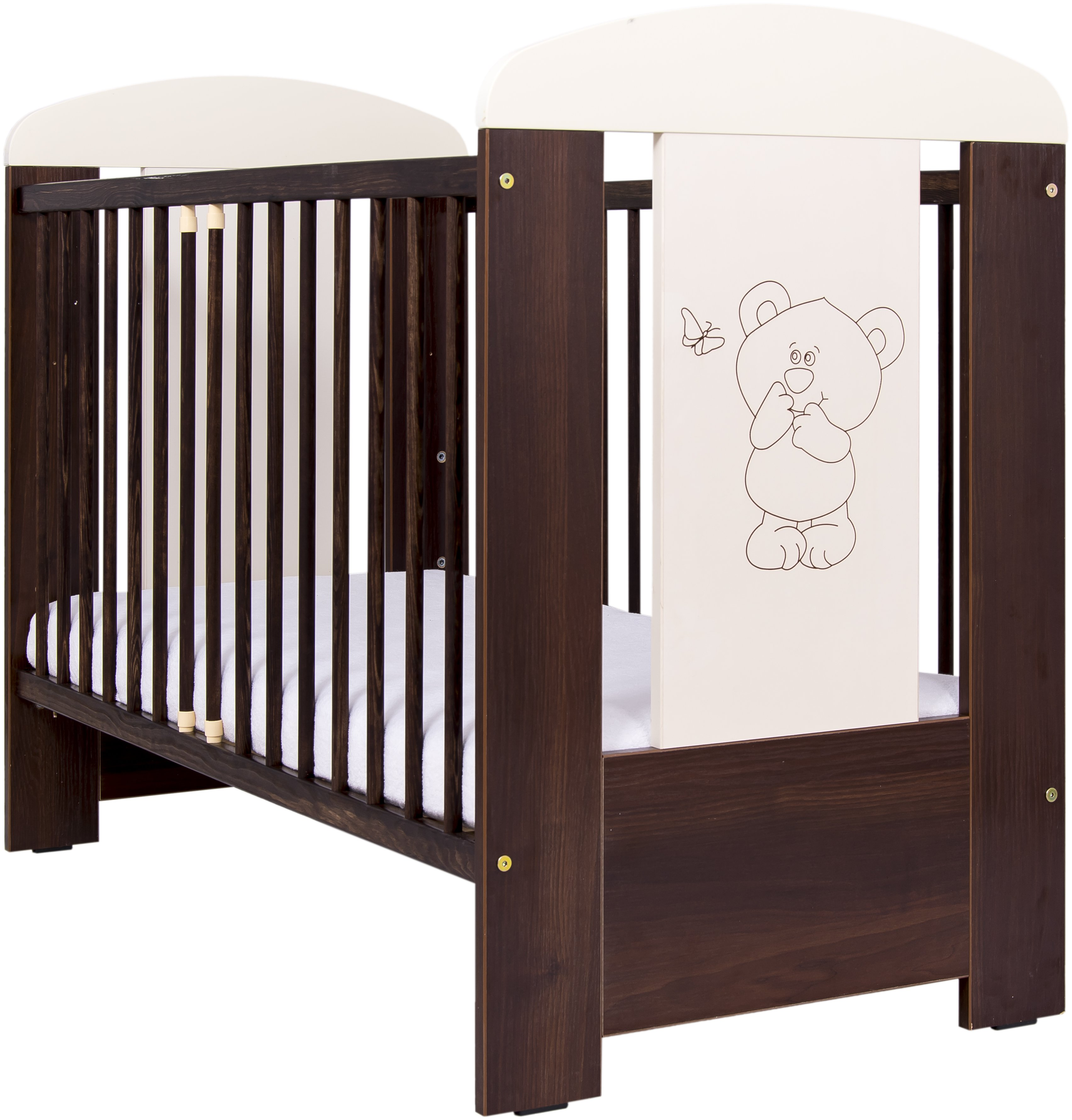 Bērnu gulta ar nolaižamu sānu Drewex LITTLE BEAR and BUTTERFLY (Maly Miš i Motylek) nut/riekstu