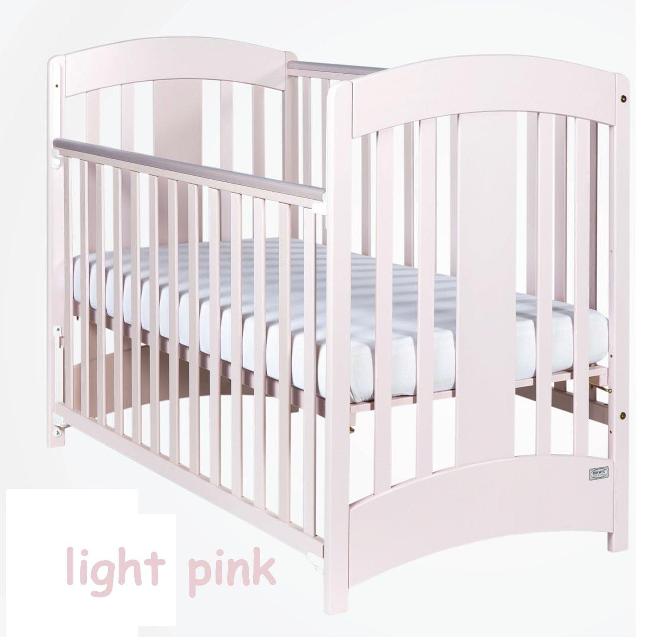 Bērnu gulta ar nolaižamu sānu Drewex NATALIA gaiši rozā