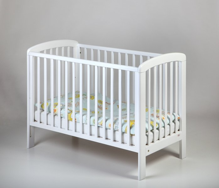 Bērnu gulta ar nolaižamu sānu TROLL Basic Lux White COT-BS0183
