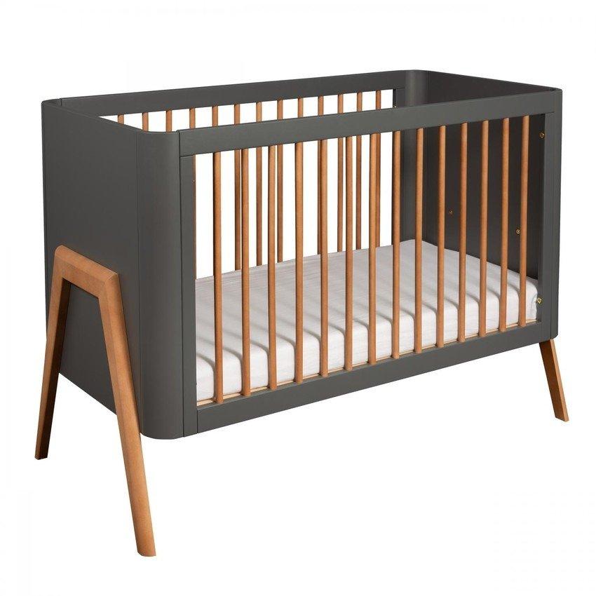 Bērnu gulta ar nolaižamu sānu TROLL Torsten Seal grey/teak COT-TR0596