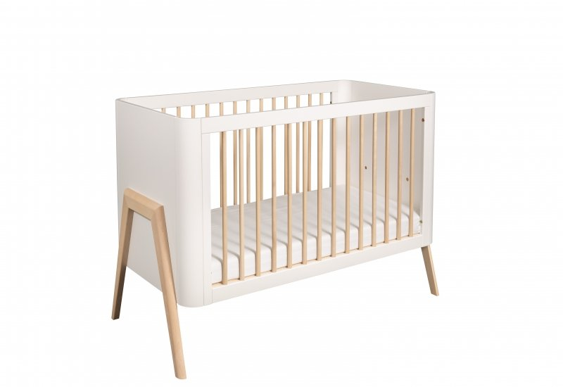 Bērnu gulta ar nolaižamu sānu TROLL Torsten White/wax COT-TR0596