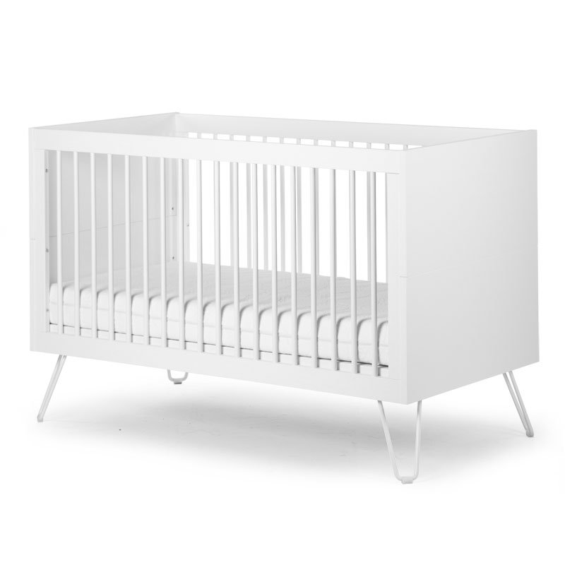 Bērnu gulta-transformeris CHILDHOME Ironwood White Baby Cot + Slats