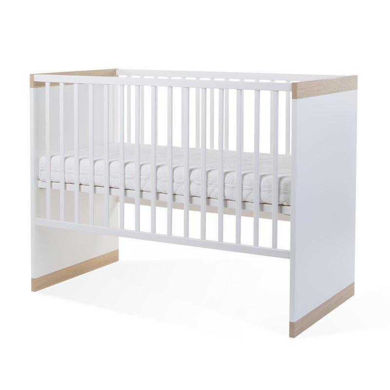 Bērnu gulta-transformeris CHILDHOME Palma White Oak Baby Cot + Slats + Rails