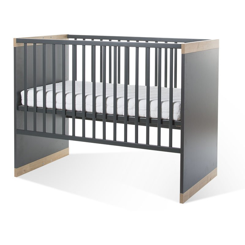 Bērnu gulta-transformeris CHILDHOME Paris Dark Oak Anthra Baby Cot + Slats + Rails