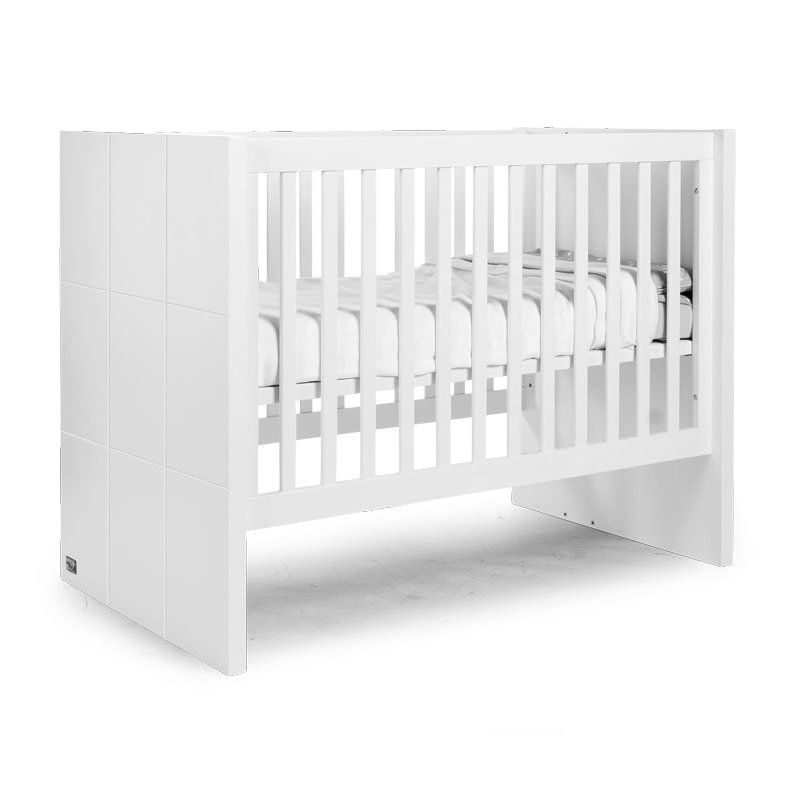 Bērnu gulta-transformeris CHILDHOME Quadro White Cot + Slats + Rails