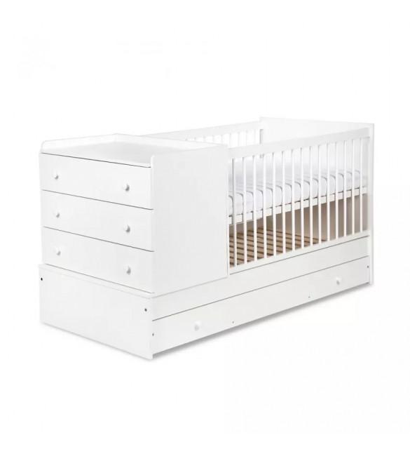 Bērnu gulta-transformeris + MATRACIS KLUPS KOMPAKT Balta 175x87 cm