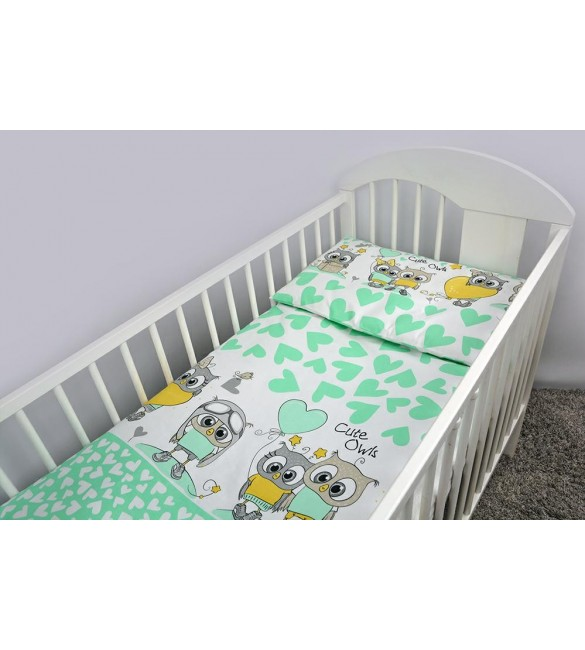 Bērnu gultas veļa: 2 daļas Ankras OWLS-HEARTS K2 mint Virspalags+spilvendrāna (135x100)