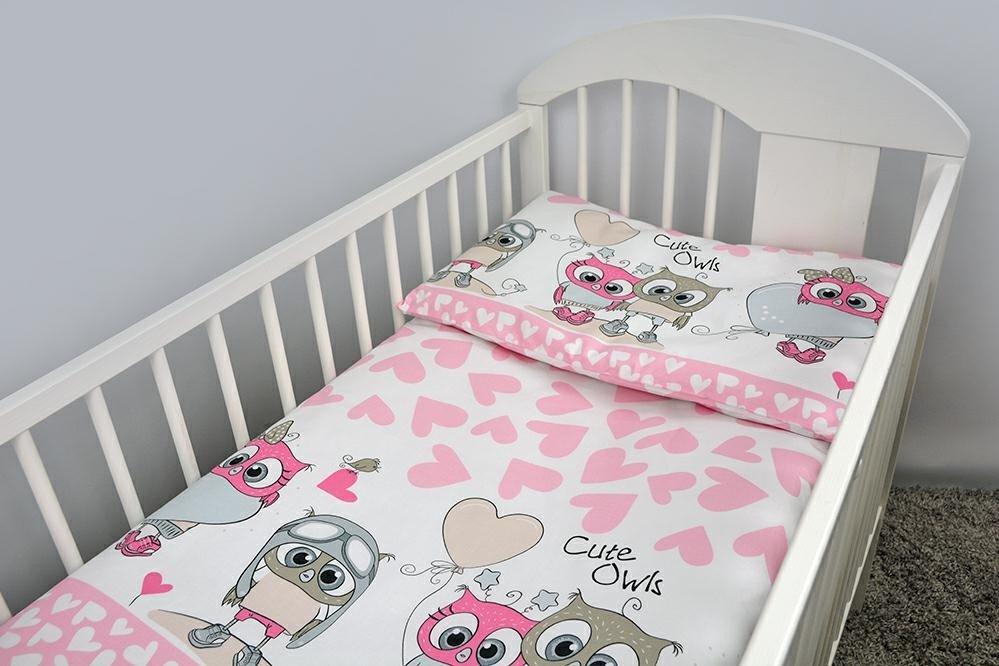 Bērnu gultas veļa: 2 daļas Ankras OWLS-HEARTS K2 pink Virspalags+spilvendrāna (135x100)