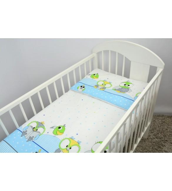 Bērnu gultas veļa: 2 daļas Ankras PARROTS K-2 blue virspalags+spilvendrāna
