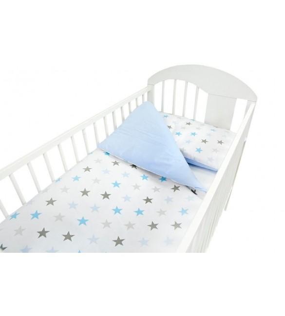 Bērnu gultas veļa: 2 daļas Ankras STARS-DUO K2 blue Virspalags+spilvendrāna (120x90)