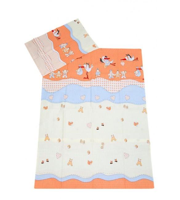 Bērnu gultas veļa: 2 daļas Ankras STORK-kreps K2 Virspalags+spilvendrāna (120x90)