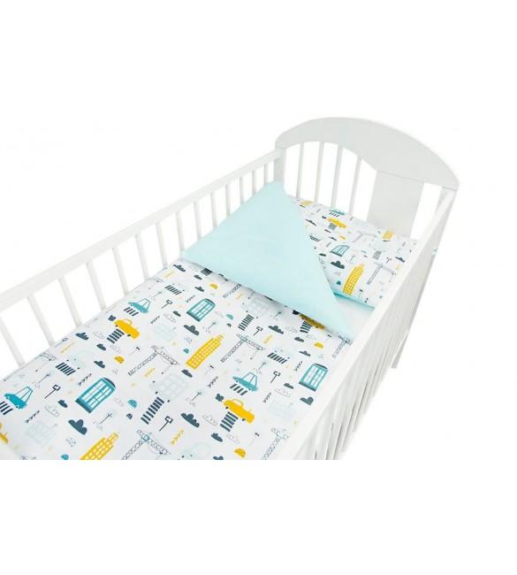 Bērnu gultas veļa: 2 daļas virspalags+spilvendrāna ANKRAS CITY K-2 turquoise