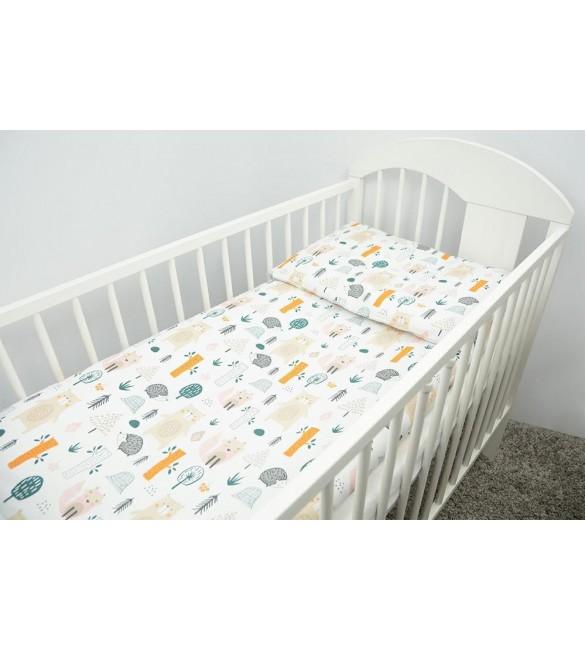 Bērnu gultas veļa: 2 daļas virspalags + spilvendrāna Ankras FOREST beige K-2