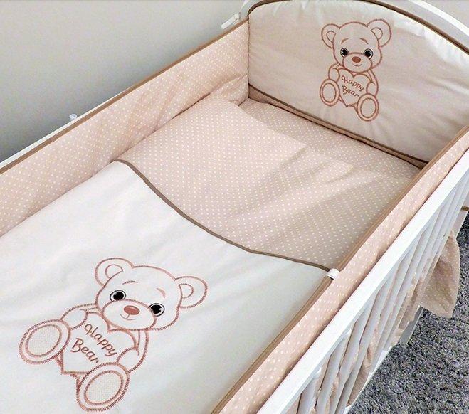 Bērnu gultas veļa: 2 daļas virspalags+spilvendrāna Ankras HAPPY HAPPY BEAR beige K-2