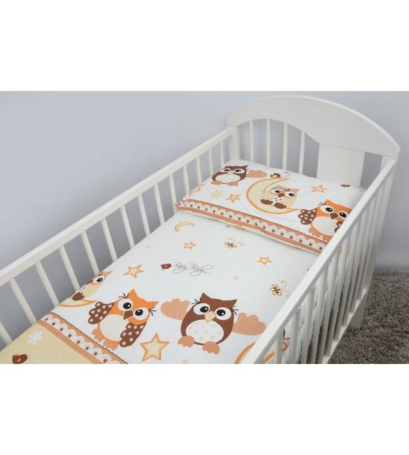 Bērnu gultas veļa: 2 daļas virspalags+spilvendrāna Ankras OWLS K-2 beige